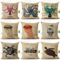 Wholesale vintage white pillowcases for sale - Group buy 45cm Fanshion Cotton Linen Fabric Throw Pillowcase Vintage Sea Animals Hot Sale Inch New Home Coffee House Sofa Back Decor Cushion Cover