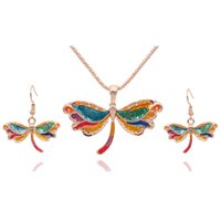 yusufçuk kolye küpe seti toptan satış-Moda Emaye Dragonfly Takı Setleri Kızlar Hediye Dragonfly Kolye Küpe Seti Vintage Gotik Takı