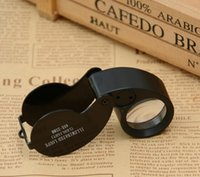 Wholesale Illuminated Magnifier Led - 200PCS 40x Portable Magnifier Mini Retractable Magnifying Illuminated LED Light Jeweler Loupe Fast shipping SA6096