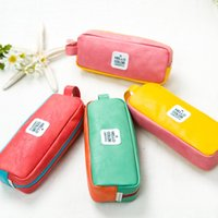 Wholesale Leather Items For Girls - one piece Macaron colorful cute pencil pouch PU leather korean stationery items pencil bag Cosmetic Bag for girls GIFT