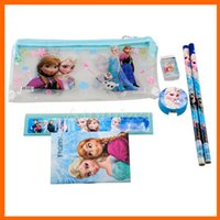 Wholesale Office Supplies Sets - Frozen stationery set for Students Office & School Supplies Frozen Cases Bag 1 book+2 pencils+1 Ruler+1 eraser+1 sharpener +1 bag(1708001)