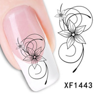 Wholesale Elegant Nail Art Decal Stickers - Free Shipping 1 Sheet Elegant Lovely Flower Nail Tips Water Decals Art Transfer Stickers Decoration Salon DIY XF1443