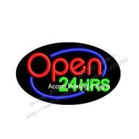 "Wholesale Neon Light Open - 22X14"" Open 24 Hours Flashing Handcrafted Custom Neon Sign NEON SIGNS NEON LIGHTS FREE SHIPPING"