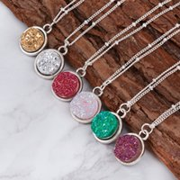 DoreenBeads 2016 Summer Handmade Drusy Resina Cabochon Round Pendant Necklace New Fashion Bohemia Woman Jewelry