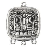 Hot 2x20PCs Hotsale Connecteurs 4 trous Mayan Element Rectangle Silver Tone 3.7x2.9cm (plus de 100 $ gratuit Express)