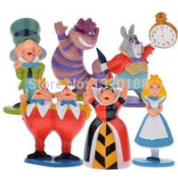 Wholesale Alice Wonderland Toy Set - Hot classic MINI ALICE IN WONDERLAND PVC Cake Toppers Figure Toy 6pcs set free shipping