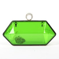 Wholesale Clear Color Clutch Bag - hot sale shiny ring acrylic bag mini irregular shape clear color party bag crystal ring clutch bag lady candy color party bag shoulder