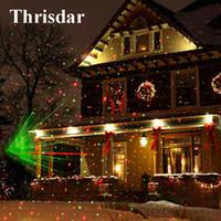 projetor projetado estrelas verde venda por atacado-Atacado Outdoor Movendo Laser Natal completa Céu Estrela Projector Lamp LED GreenRed Stage Luz Paisagem Outdoor Lawn Jardim Luz