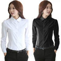 Wholesale Office Blouses Collars - Women's Formal Chiffon Blouses White Button Down Work Shirts Long Sleeve Business Tops Turn Down Collar Ladies Office Clothes