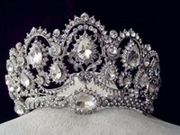 Wholesale Silver Headbands - Sparkle Beaded Crystals Wedding Crowns 2017 Bridal Crystal Veil Tiara Crown Headband Hair Accessories Party Wedding Tiara 2016