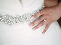 cinturones de fiesta de diamantes de imitación al por mayor-2018 de alta calidad nupcial Sash Beads cinturones de novia con diamantes de imitación nupcial accesorio de la correa de satén para Prom / noche / vestidos de novia