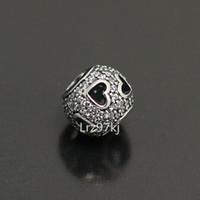 Wholesale lampwork glass heart pendant resale online - 925 Sterling Silver Tumbling Heart Bead with Clear Cz Fits European Pandora Jewelry Bracelets Necklaces Pendants