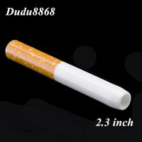 Wholesale Oil Filter Wholesalers - Ceramic Cigarette Hitter Pipe Yellow Filter Color Cig Shape Smoke Pipes Herb One Hitter Bat Portable Dabber Oil Rigs Dab Carb Caps DUDU8868