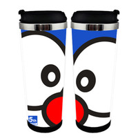 Wholesale japanese mugs resale online - Japanese Anime Doraemon Double Insulation Coffee Tea Cup Bottle Mugs Space Cup stainless steel tank cup