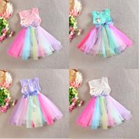 Wholesale Kids Rainbow Gown - 2015 Girl Tulle Lace dresses summer rainbow color dress girl bowknot waistband vest dress kid tutu princess dress C001