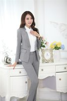Wholesale Clothing Design Business - Wholesale-Novelty Grey Formal Pantsuits Uniform Design Professional Business Suits Jackets And Pants Ladies Office Trousers Clothing Sets