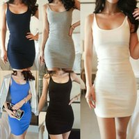 Wholesale Tight Fitting Summer Dresses - 2014 New Summer Plug Size M,L,XL Sleeveless Strap Dress Sexy Tight Fitting Suspender Slim One Piece Dress WF-007 Free Shipping