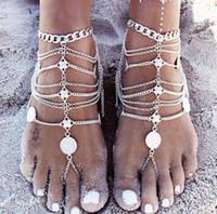ayak takı bileği toptan satış-Yalınayak Sandalet Streç Halhal Zincir Toe Ring ile Slave Halhal Zincir Kum Düğün Gelin Gelinlik Ayak Bohemian Plaj Partisi Takı