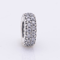 Fits Pandora Fits Pandora Charms Bracelet 925 Sterling Silver Pave Clear Zircon Spacer Beads Charm DIY Jewelry Free Shipping