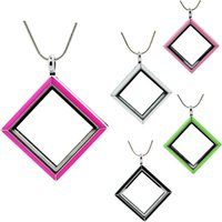 Wholesale Enamel Magnetic - 2016 Hot !! magnetic glass floating charm locket,Diamond Locket 5 color enamel (chains included for free)LSFL016