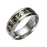 Wholesale pirate jewelry for women resale online - Stainless Steel Pirate Rings Jewelry Punk Skull Finger Ring For Women Men Rings Gift Hot Sale