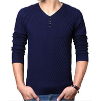 Wholesale Men Dress Sweaters - 2016 Autumn Winter Brand Casual V-Neck Sweater mens Cashmere Wool Slim Pullover christmas sweater men Dress Knitted Sweater