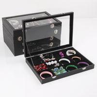 Wholesale Black Jewellery Display - 35x24 Multifunctional Black Leatherette Bangle Bracelet Earring Pendant Necklace Ring Display Box Holder Jewellery Show Case Velvet Inside