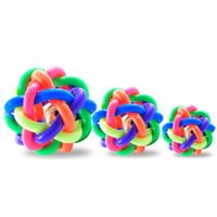 Wholesale safe dog chew toys online - Round Pet Ball Toy Colorful Weaving Twist Rubber Balls Non Toxic Safe Dog Chew Toys High Quality hz B