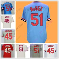 Wholesale polyester bobs - Cooperstown Jersey Bob Gibson Willie McGee Jerseys Flexbase Cool BASE Vintage Blue Cream Red Pullover
