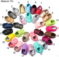 Wholesale Stocking Bows - 2016 Baby Soft PU Leather Tassel Moccasins walker shoes baby Toddler Bow Fringe Tassel Shoes Moccasin 64colors stock choose freely