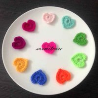Wholesale hats shoes crochets resale online - 3x3cm Mixed Colors Crochet Heart Appliques for Clothing Shoes Bags Hats Headbands DIY Handmade Heart Shape Items