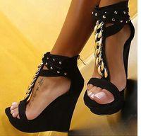 Wholesale Wedge Ankle Strap Platform Sandal - Plus Size 40 41 Gold Rivets T Strap Platform Wedge Shoes Women Sandals 15cm Size 34 to 41