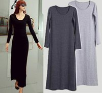 Wholesale Pencil Leads Colors - Free Shipping 4 colors one yards dress long-sleeved dress Europe and mopping the floor dress dress rapid delivery to lead Europe 2016 factor