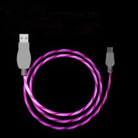 Wholesale Flashing Types - 1M 3ft LED Flowing Type C Flashing Light Micro USB Charging Cable Cords Data Sync For Samsung Huawei Universal Android Line