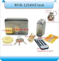 puerta de control de tarjeta al por mayor-Clave interna y externa de bricolaje (RFID) para abrir la puerta Bloqueo de RFID Sistema de control de acceso + Tarjetas 10 unidades