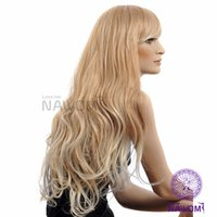 Wholesale Sexy Blond Wig - bright blond women wigs revlon wigs sexy long blond women wig 100% kanekalon 1prs Free Shipping 1014D3252