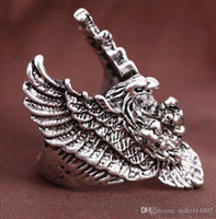 Wholesale Finger Promise Ring - Unique Promise New Arrival Punk Style Eagle Antique Silver Plated Ring Butterfly Shape Jewelry Stainless Steel MotorMen's Finger Ring