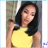 Wholesale Human Mix Lace Front Wigs - Brazilian Short Human Hair Bob Wigs Unprocessed Virgin Short Bob Wigs Glueless Bob Full Lace Front Wigs For Black Women FreeShip
