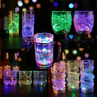 Wholesale Colored Glass Mugs - LED Inductive Flashing Lights Liquid Activated Glow Glass Xmas Wedding Party Beer Whiskey Cup Drinkware Luminous Goblet Mug 35 Shades