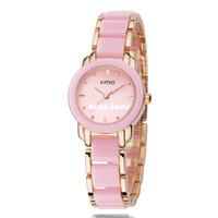 Wholesale Eyki Kimio Watches - Box Packing Brand Hot Fashion Eyki Kimio 2014 Ladies Ceramic Luxury Bracelet Watches Golden Rose watch women free shipping