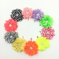"Wholesale Neon Flowers - 3.5"" Neon Chiffon Flower Chiffon Chevron Flower Matching Starbeurst Botton Without Clip Falt Back 30pcs lot"