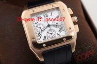 Wholesale Mechanical Golden Wristwatch - New style men Golden case 100 LX Luxury watch caliber automatic movement mechanical white dial black leather hands wristwatch