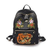 Wholesale Floral Oxfords - Appliques Oxford Black Backpack Luxury Brand Designer Backpacks For Travel High Quality Women Backpack 2017 New Arrival