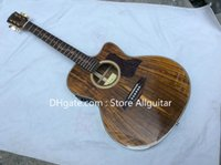Wholesale Acoustic Koa - Deluxe Solid Koa Series Acoustic Guitar all Solid Koa Wood Guitar With Fishman 301 MIC Pickups Acoustic Electric Guitar