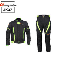 yarış ceketi motosiklet siyahı toptan satış-Sürme Kabile Motosiklet Siyah Yarış Kış Ceketler ve Pantolon Yansıtan, Moto Su Geçirmez Ceketler Pantolon Suits, JK37