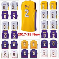 2017-18 Nouveau Hommes Los Angeles 0 Kyle Kuzma # 2 Lonzo Ball violet blanc jaune swingman Jersey Lakers couture Jerseys