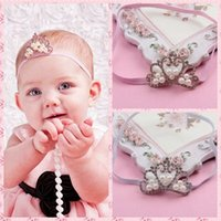 Wholesale Child Hairbands Pearls - 8 colors Christmas Baby Luxury Pearl diamond Crown Headbands girl Wedding Hair bands Children Hair Accessories boutique party supplies gift