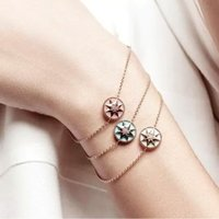 Wholesale Circle Diamond Pendant White Gold - New arrival Special design Star shape with nature shell and diamond pendant bracelet For Women bracelet in 23cm women jewelry gifts PS5275A