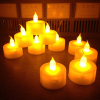 ingrosso miele di lavanda-12pcs / set elettrico ambra giallo candela senza fiamma LED luce del tè batteria a casa sala da pranzo festa decor