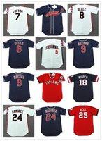 Wholesale belle yellow - Vintage Cleveland 1993 Cheap Baseball 8 ALBERT BELLE 7 KENNY LOFTON 24 MANNY RAMIREZ 9 CARLOS BAERGA 18 DUANE KUIPER 25 BELL Jerseys